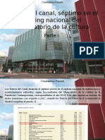 Constantino Parente - Teatros Del Canal, Séptimo en El Ranking Nacional Del Observatorio de La Cultura, Parte I