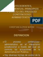 Antecedentes, Principios Contencioso Administrativo
