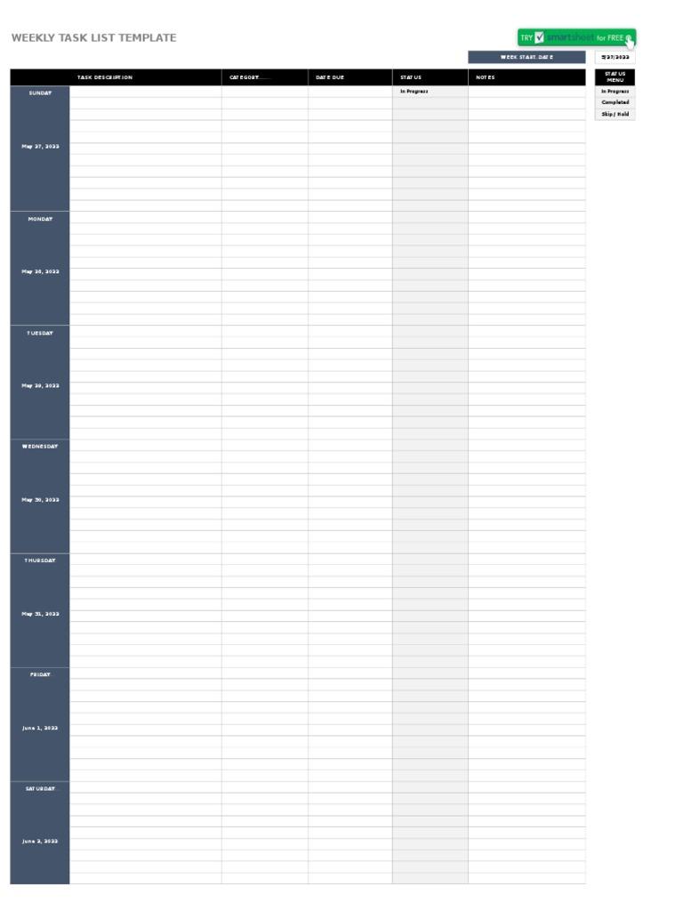 Ic Weekly Task List Template 8624