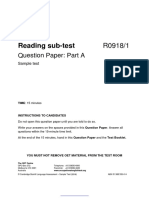 Nursing Reading Sub-test Sample Test