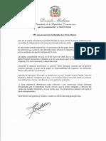 Mensaje del presidente Danilo Medina con motivo del 175 aniversario de la Batalla del 19 de Marzo