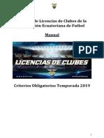 Manual de Reglamento de Licencia de CLubes 2019