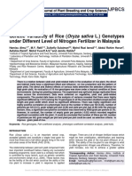 Genetic Variability of Rice (Oryza sativa L.) Genotypes under Different Level of Nitrogen Fertilizer in Malaysia
