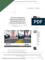 Toyota Presenta Nuevos Sistemas de Seguridad en Sus Vehículos Para 2018 - La Salud Es Más
