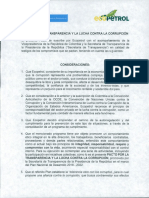 Pacto por la transparencia y la lucha contra la corrupción - ECOPETROL