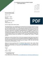 Carta de la Junta al Conservatorio de Música de Puerto Rico y Escuela de Artes Plástica