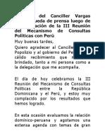 Discurso Canciller Miguel Vargas  rueda de prensa Perú