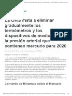 La OMS Insta a Eliminar Gradualmente Los Termómetros y Los Dispositivos de Medición de La Presión Arterial Que Contienen Mercurio Para 2020