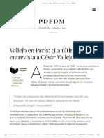 Vallejo en París - ¿La última entrevista a César Vallejo?