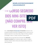 → Curso Segredo dos Mini-Sites 3.0 DEPOIMENTOS  [RECLAME AQUI] É Fraude?