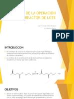 Análisis de La Operación de Un Reactor De1