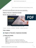 Maestría en Producción y Operaciones Industriales
