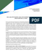 DECLARACIÓN POLÍTICA DEL I ENCUENTRO NACIONAL DE DELEGADOS DE LA UNEES - 6 Y 7 DE OCTUBRE