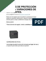 Equipos de Protección Contra Variaciones de Corrientes