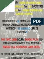 Instrucciones Feria Peruana y Venezolana