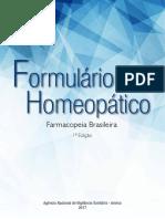 Formulário. Homeopático. Farmacopeia Brasileira. 1ª Edição