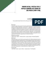 SOUZA, Luis Antonio. Ordem Social, Polícia Civil e Justiça Criminal