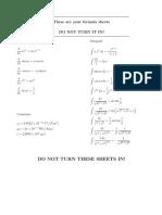 Physics 208 Formulas
