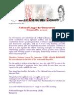 Daw Aung San Suu Kyi's NLD Official Boycott Statement