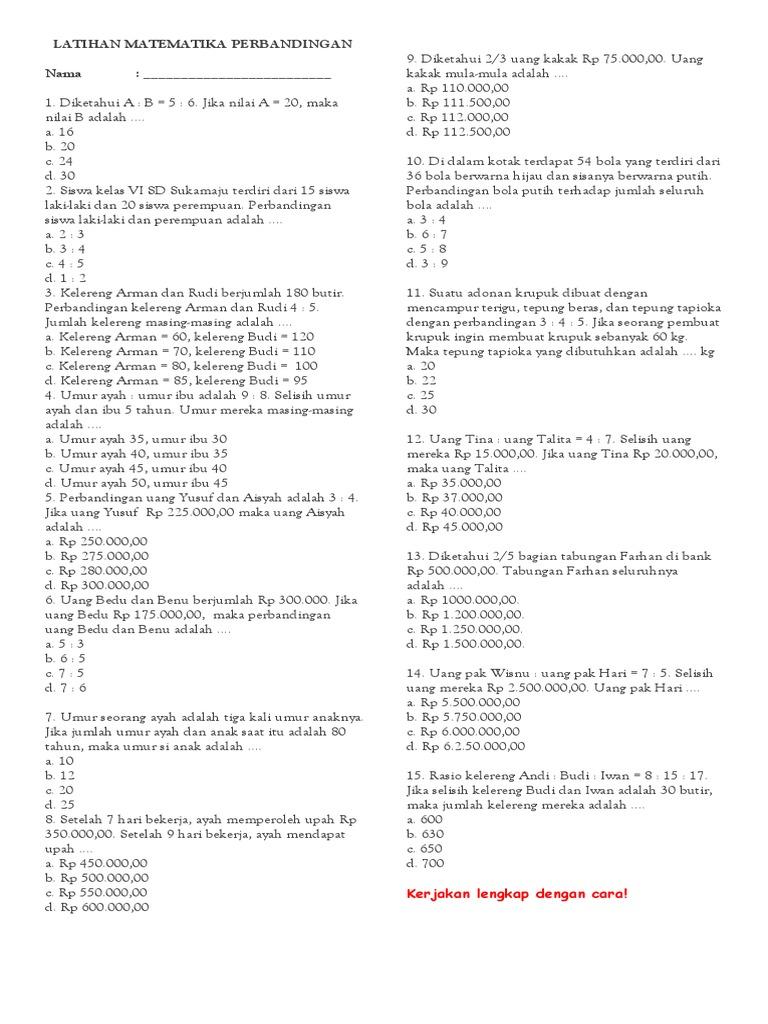 Latihan Matematika Perbandingan