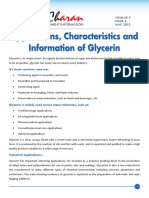 May 2013 - Application,Charateristics and Information of Glycerin