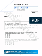 AIIMS 2019 Chemistry Sample Question Paper