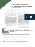 Avaliacao Diagnostica Quimica Com Gabarito