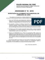 COMUNICADO PNP N° 15 - 2019