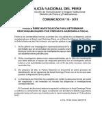 COMUNICADO PNP  N° 16 - 2019