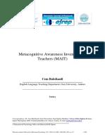 Balcikanli (2011) Metacognitive Awareness Inventory for Teachers (MAIT).pdf