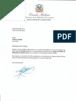 Carta de felicitación del presidente Danilo Medina a Anthony Hidalgo por ganar medalla de oro, en boliche, en los Juegos Mundiales de Olimpíadas Especiales 2019