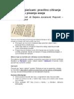 Uputstvo Za Citiranje Eseja