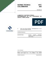 NTC 668 DETERMINACION DE LOS CONTENIDOS DE GRASA Y FIBRA CRUDA EN ALIMENTOS.pdf