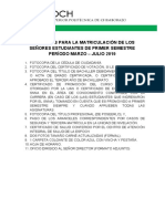 Requisitos Matriculas Marzo 2019