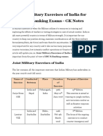 Joint Military Exercises of India for SSC Banking Exam GK Notes