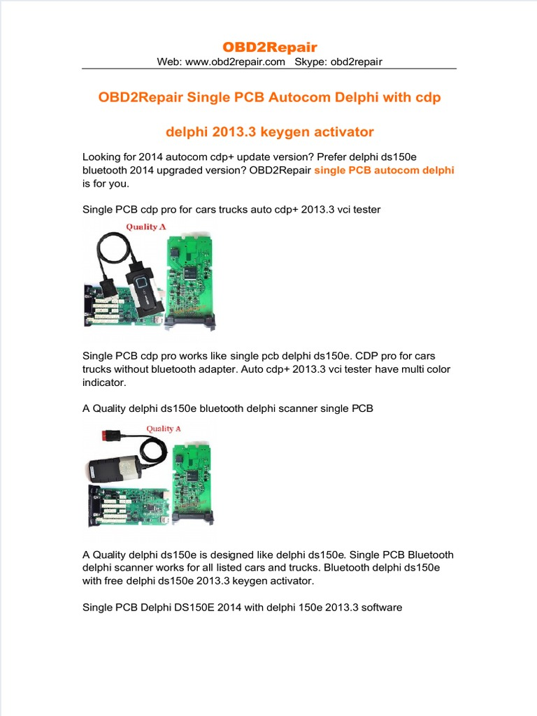 Dokumen tips Obd2repair Single Pcb Autocom Delphi With Cdp Delphi