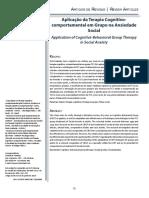 Aplicação da Terapia Cognitivo comportamental em Grupo na Ansiedade Social