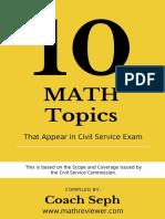 FREE eBook - 10 Math Topics That Appear in Civil Service Exam