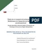 """""""Efecto de un programa de entrenamiento en Mindfulness en el desarrollo de habilidades psicoterapéuticas"""""""