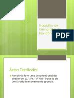 Trabalho de Geografia de Rondônia