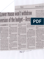 Manila Bulletin, Mar. 20, 2019, Lower House wont withdraw version of the budget - Arroyo.pdf