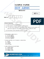 AIIMS 2019 Biology Sample Question Paper