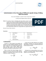 Determination of the Viscosity of Different Liquids Using a Falling Ball Viscometer