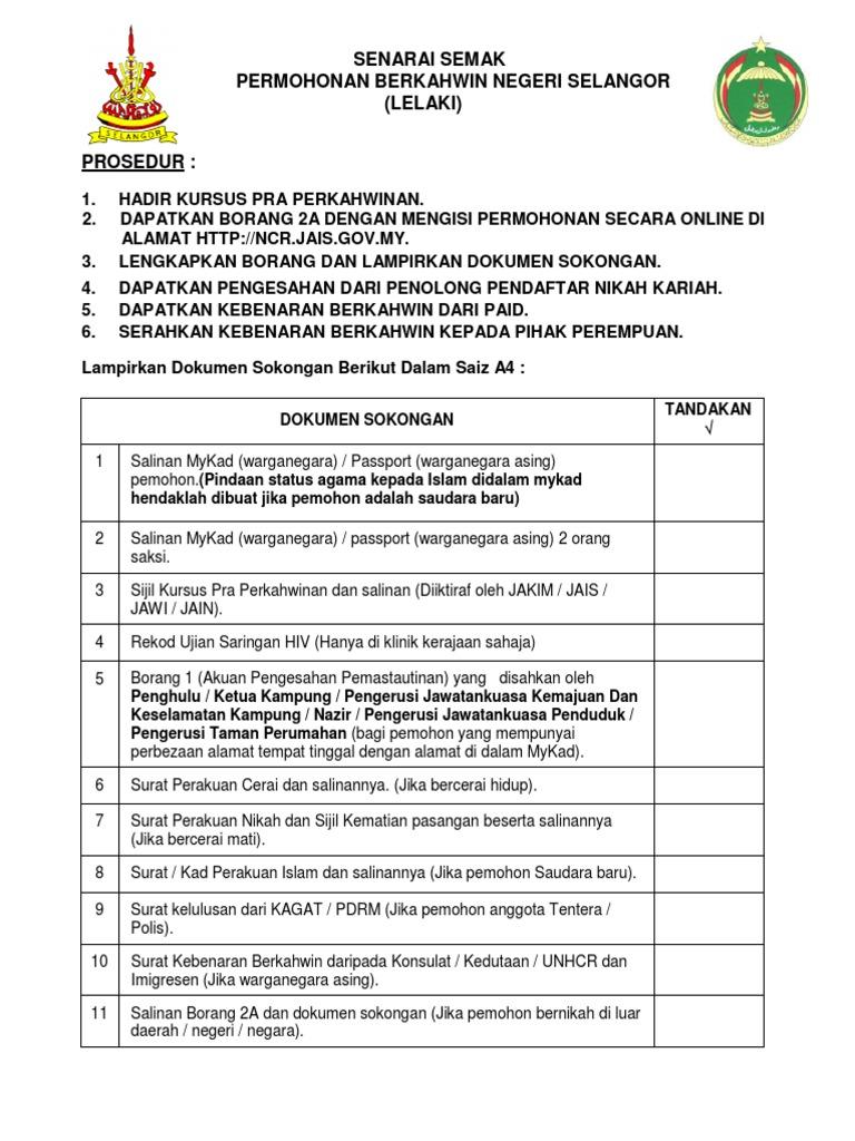 Senarai Semak Permohonan Berkahwin Negeri Selangor Lelaki