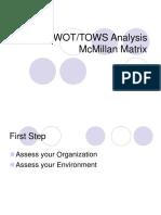 SWOT TOWS McMillan Matrix
