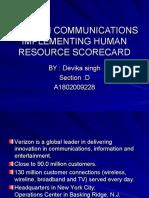 Verizon Communications Implementing Human Resource Scorecard