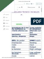 Vocabulario Técnico de Electricidad en Inglés