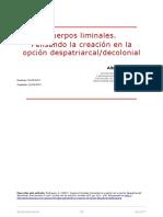 Rodriguez, A. (2017). Cuerpos Liminales. Pensando La Creación en La Opción Despatriarcal- Decolonial. Iberoamérica Social - Revista-red de Estudios Sociales VIII, Pp. 115 - 136