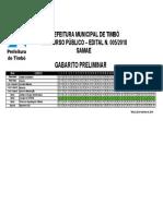 Gabarito Timbo Edital 005 2018