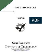 SBIT Disclosure